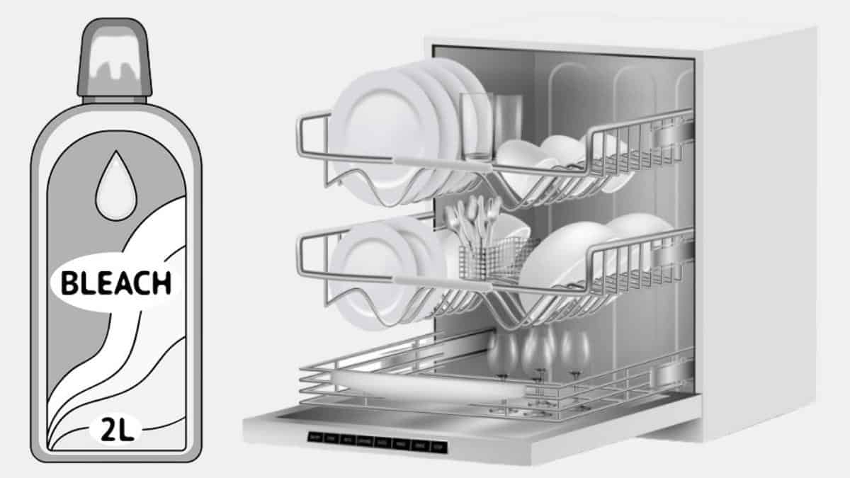 can you wash dishes in dishwasher with bleach